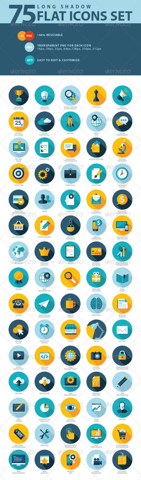 GraphicRiver Set of Flat Design SEO Services Icons 7595056