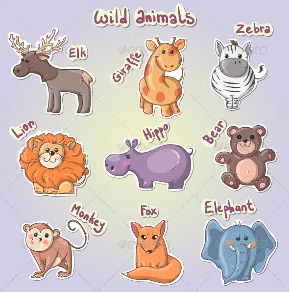 GraphicRiver Set of Cartoon Wild Animals 7595102
