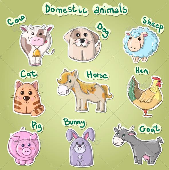 GraphicRiver Set of Cartoon Domestic Animals 7595105