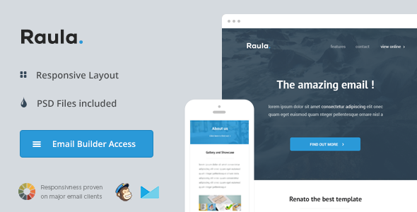 Raula - Responsive Email + Themebuilder Access