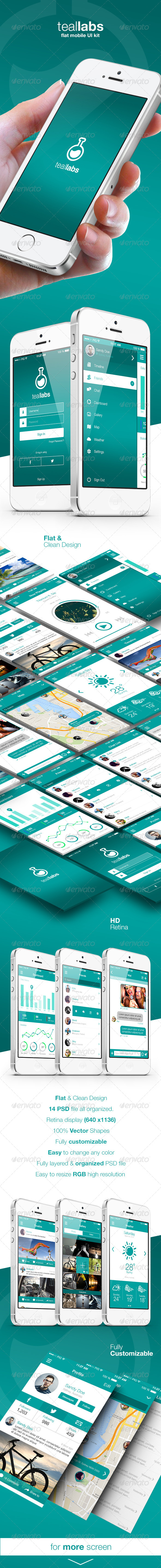 GraphicRiver Teallabs Modern & Cool Teal Flat Mobile UI Kit 7590574