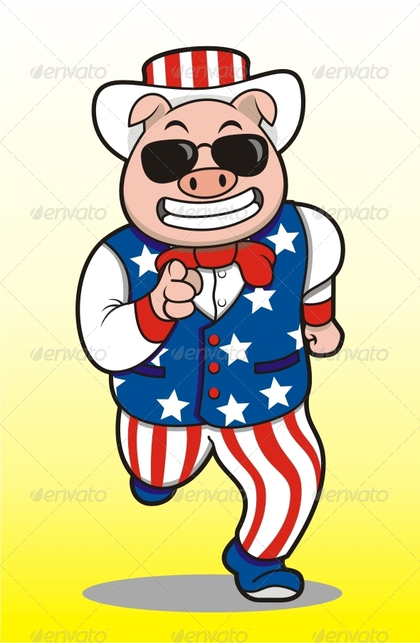 GraphicRiver Running Pig Mascot 7596098