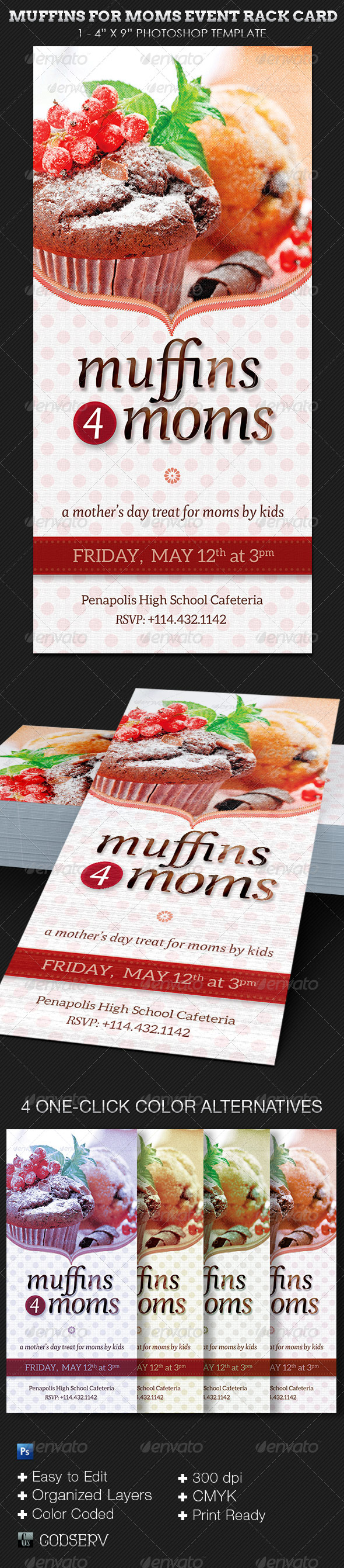 Muffins for Moms Event Rack Card Template - Events Flyers