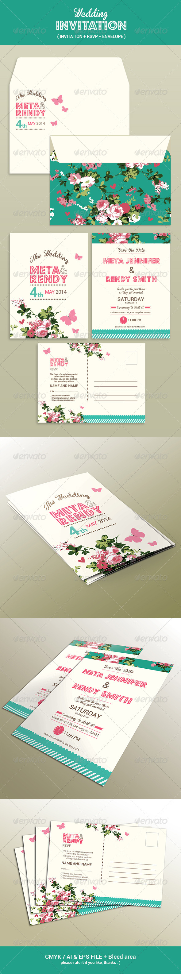 GraphicRiver Wedding Invitation Set 7596182