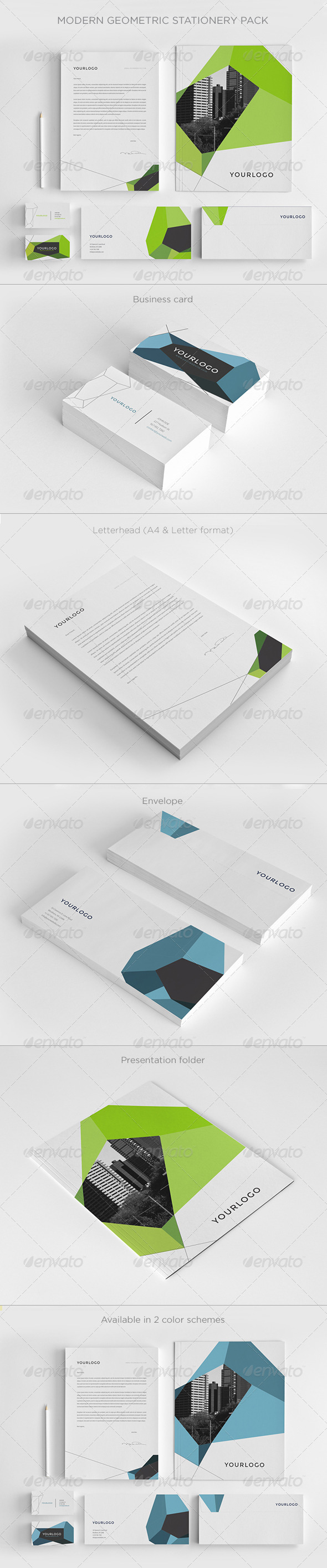 GraphicRiver Modern Geometric Stationery Pack 7596186