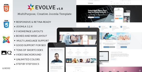 ThemeForest Evolve MultiPurpose Creative Joomla Template 7578621