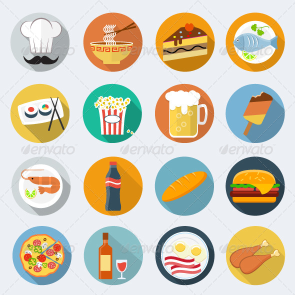 GraphicRiver Food Flat Icons 7596820