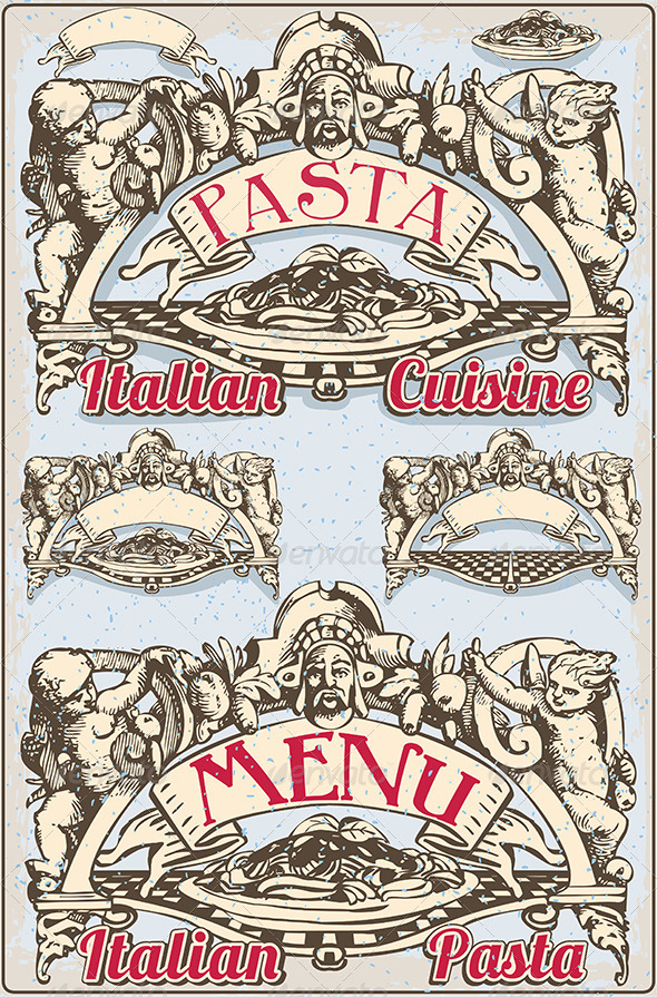 GraphicRiver Vintage Graphic Element for Italian Pasta Menu 7597818