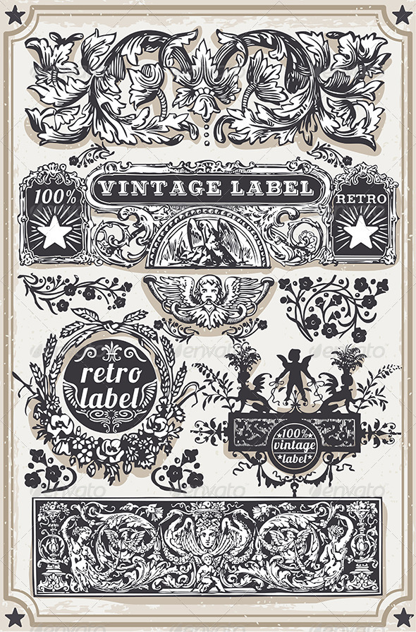 GraphicRiver Vintage Hand Drawn Graphic Banners and Labels 7597875