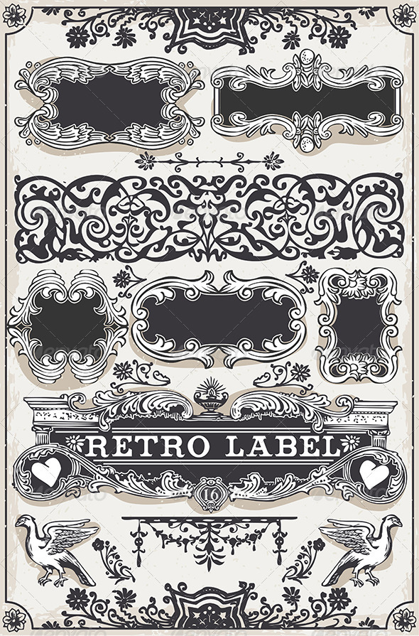 GraphicRiver Vintage Hand Drawn Graphic Banners and Labels 7597884