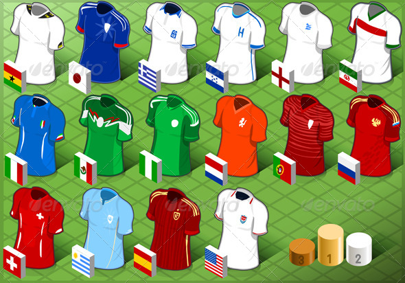 GraphicRiver Isometric Uniforms Set of Soccer Competition 7597897