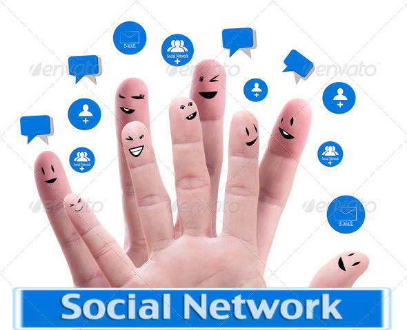 PhotoDune Social network concept of Happy group of finger faces with spee 780903