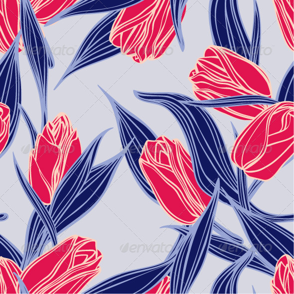 GraphicRiver Seamless Floral Pattern with Red Tulips 7598128