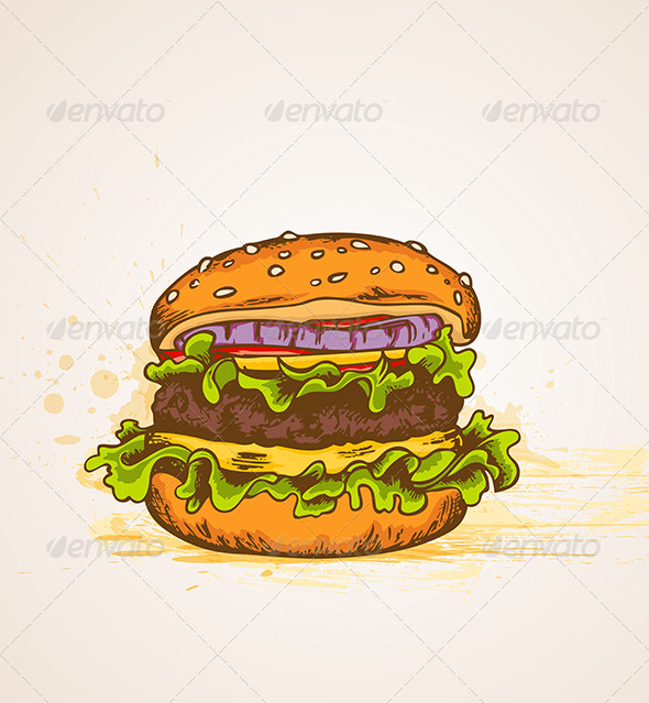 GraphicRiver Vintage Hand Drawn Hamburger 7598191