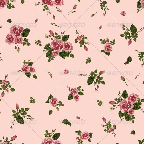GraphicRiver Seamless Floral Pink Roses Pattern 7598193