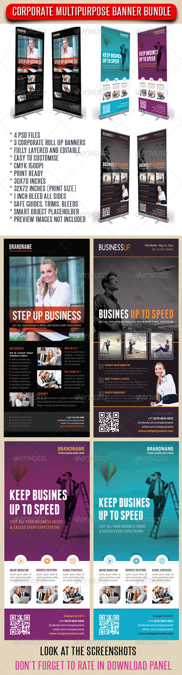 GraphicRiver 3 in 1 Corporate Rollup Banner Bundle 11 7598344