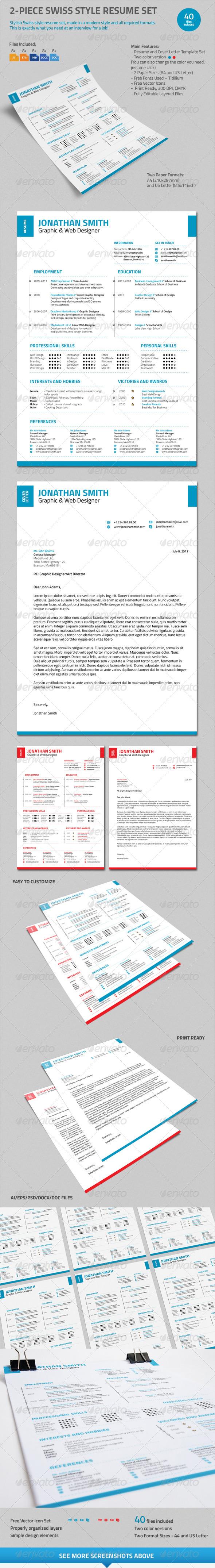 2-Piece Swiss Style Resume Set