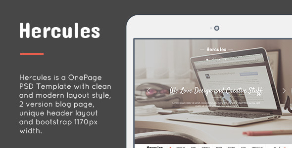 ThemeForest Hercules OnePage PSD Design Template 7576907