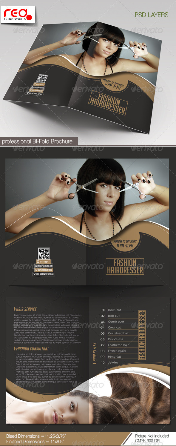 Fashion Hairdresser Bi-fold Brochure Template - Catalogs Brochures