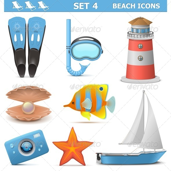 GraphicRiver Vector Beach Icons Set 4 7599166