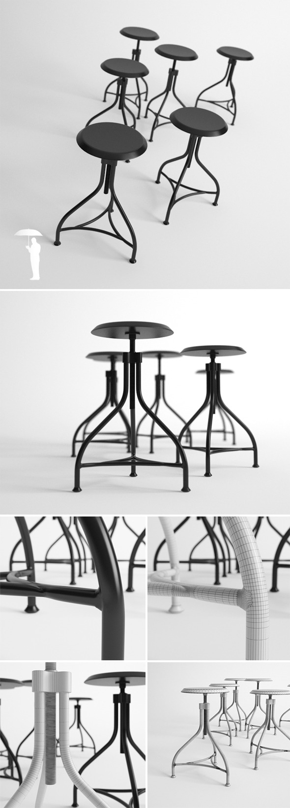 3DOcean Piano stool 7600083