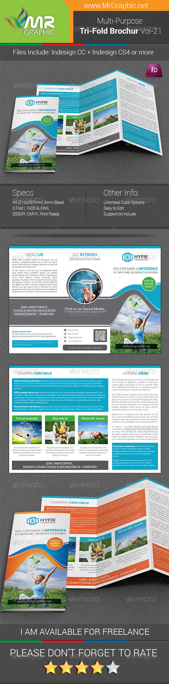 Multipurpose business tri fold brochure vol 21 graphicriver for Tri fold brochure template indesign cs6