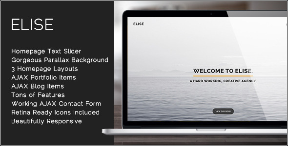 Elise - AJAX Powered Single Page Template - Portfolio Creative