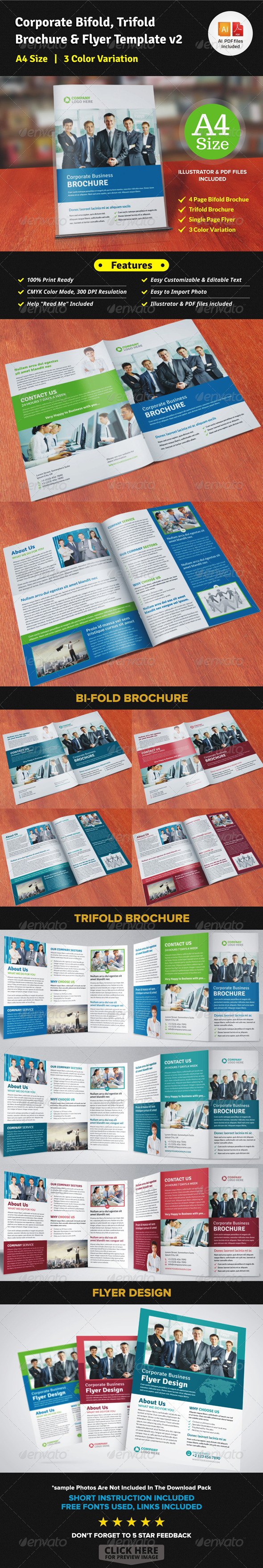 GraphicRiver Corporate Bifold Trifold Brochure & Flyer v2 7600632