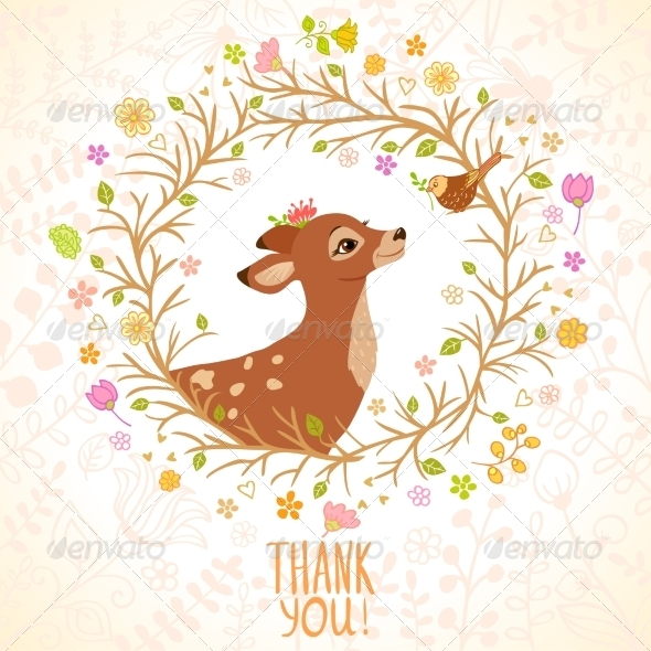 GraphicRiver Deer and Bird 7600722