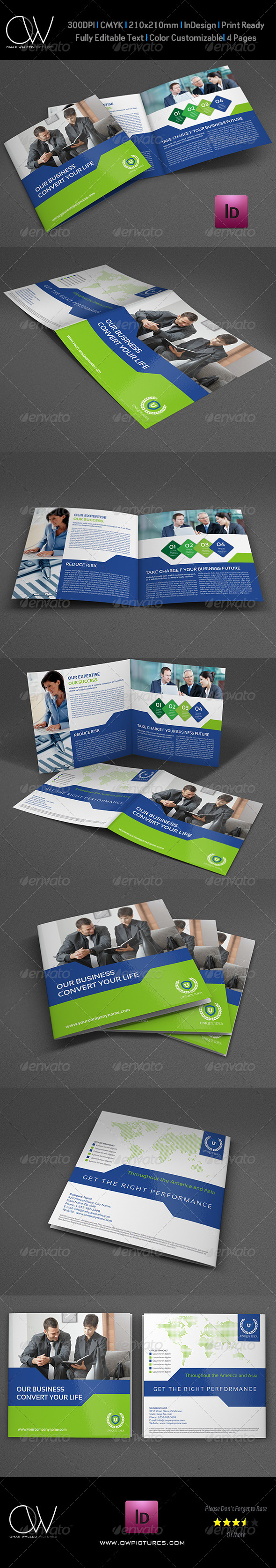 GraphicRiver Company Brochure Bi-Fold Square Template Vol.25 7600728