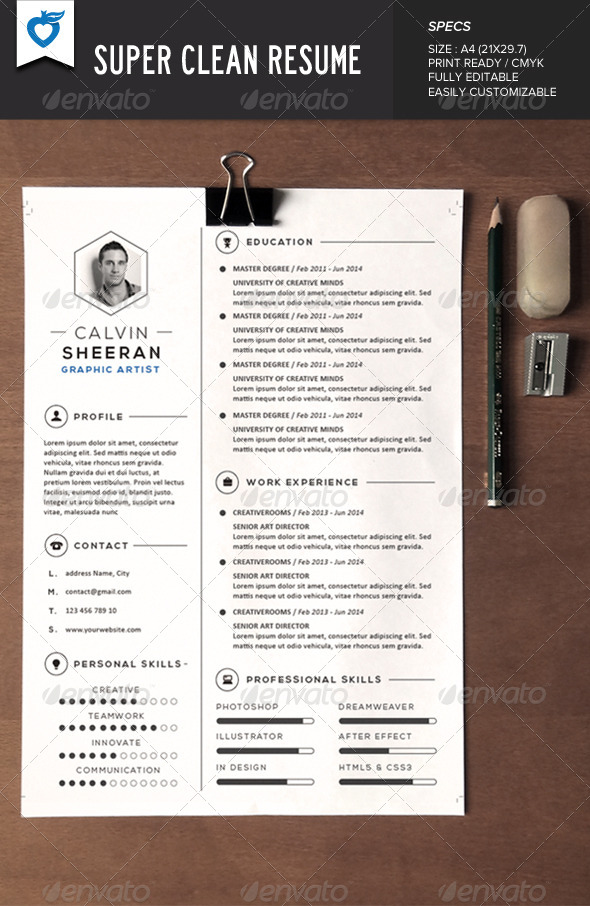 GraphicRiver Super Clean Resume 7600780