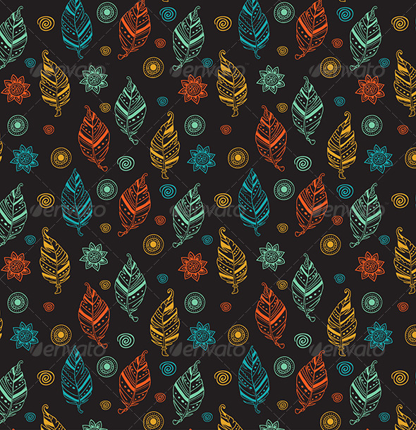 GraphicRiver Seamless Pattern with Feathers 7601242