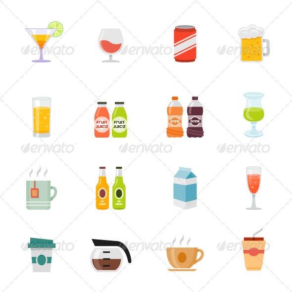 GraphicRiver Beverage Icon Flat Design 7601253