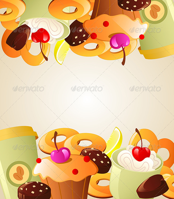 GraphicRiver Background with Sweet Cakes 7601282