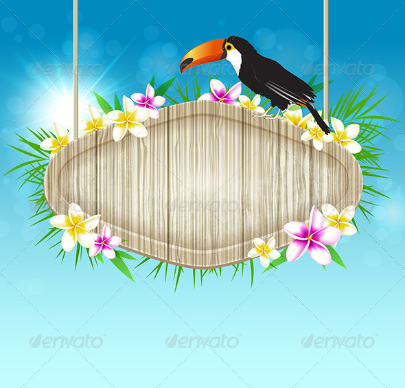 GraphicRiver Background with Toucan and Wooden Banner 7601300