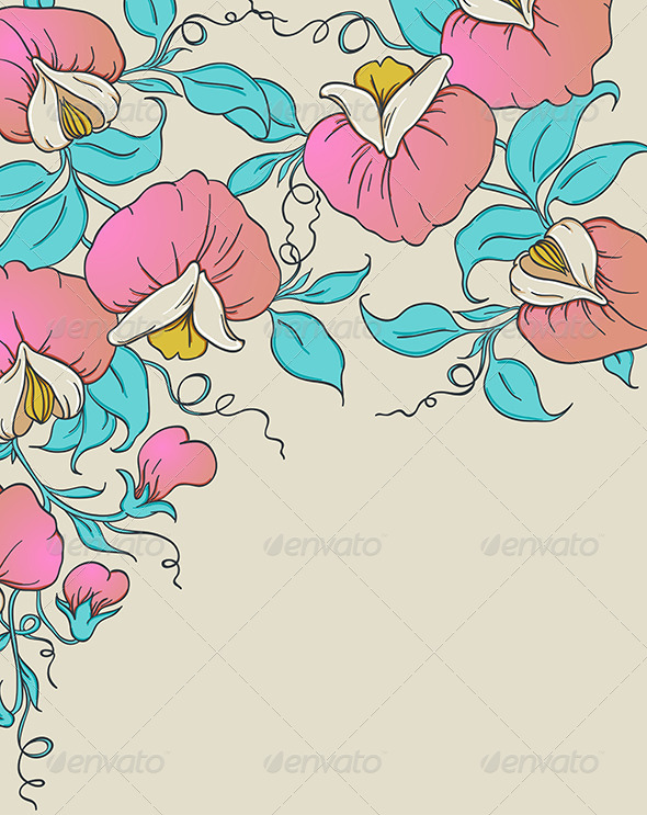 GraphicRiver Background with Pink Sweet Pea 7601317