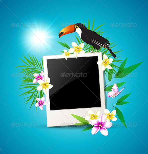 GraphicRiver Background with Toucan and Flowers 7601328