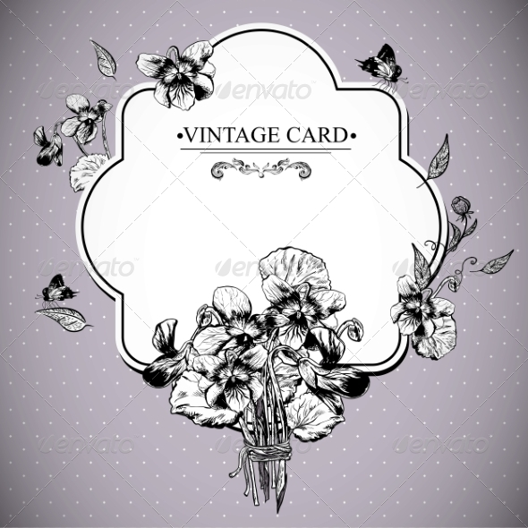 GraphicRiver Vintage Floral Card with Violets and Butterflies 7601623
