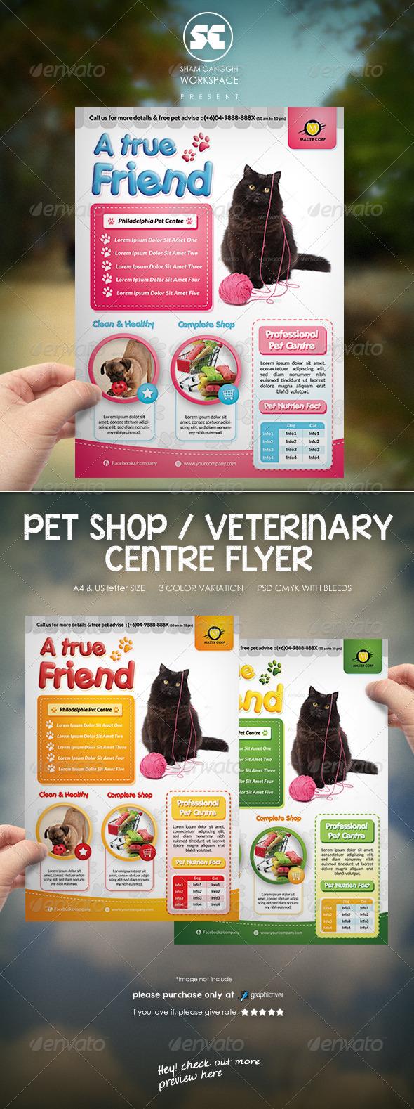 GraphicRiver Pet Shop Veterinary Centre Flyer 7601839