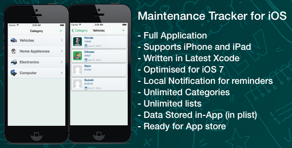 CodeCanyon Maintenance Tracker for iOS 7602257