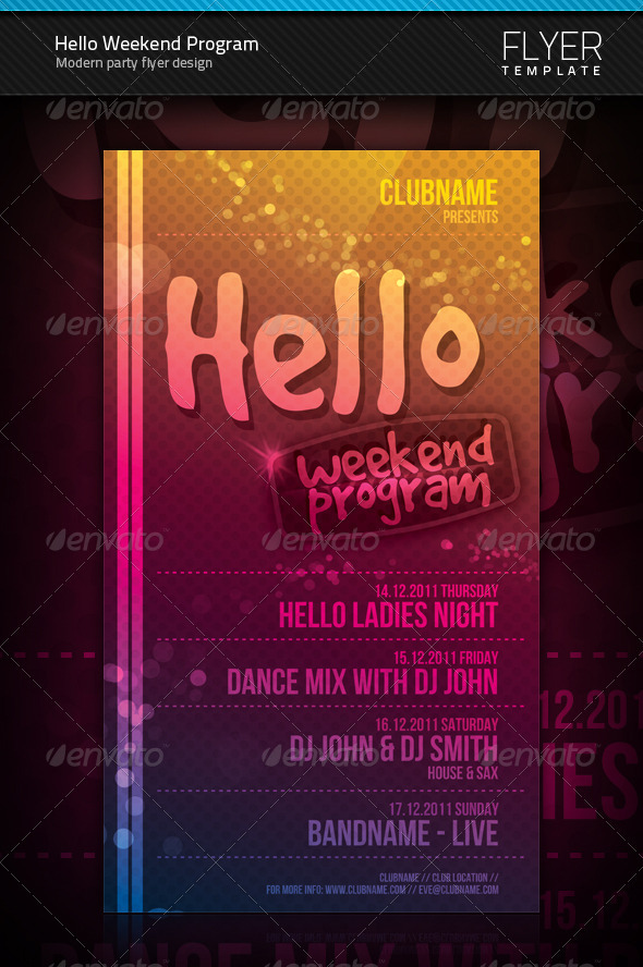 Hello Weekend Program Flyer - Clubs & Parties Events