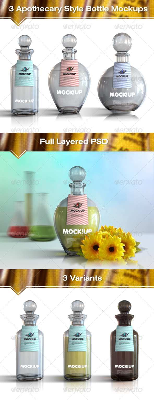 GraphicRiver 3 Apothecary Style Bottle Mockups 7602438