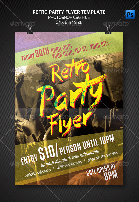 GraphicRiver Retro Party Flyer Template 7602441