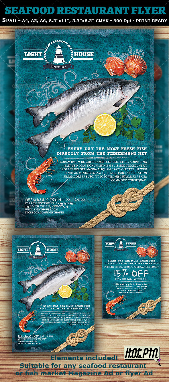 Seafood Restaurant Magazine Ad or Flyer Template