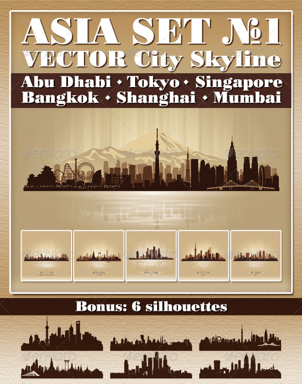 GraphicRiver Vector City Skyline Asia Set Number 1 7604345