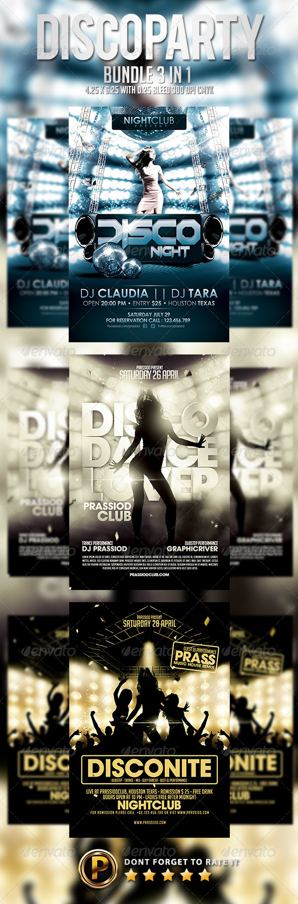 Disco Party Flyer Template - Bundle 3 In 1 - Clubs & Parties Events