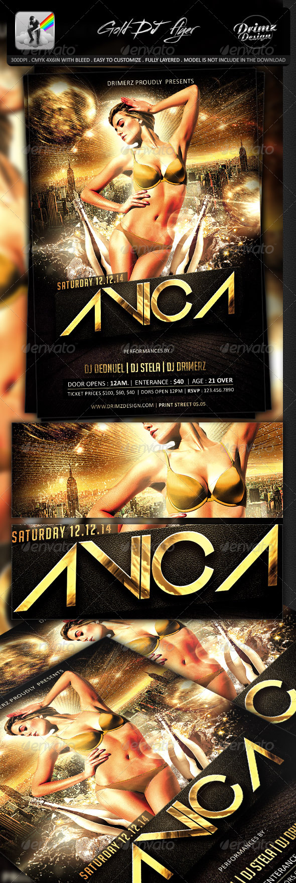 GraphicRiver Gold DJ Flyer 7605215