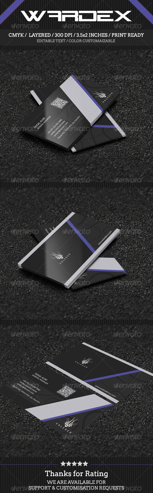 GraphicRiver Modern Black Business Card Design 7605242