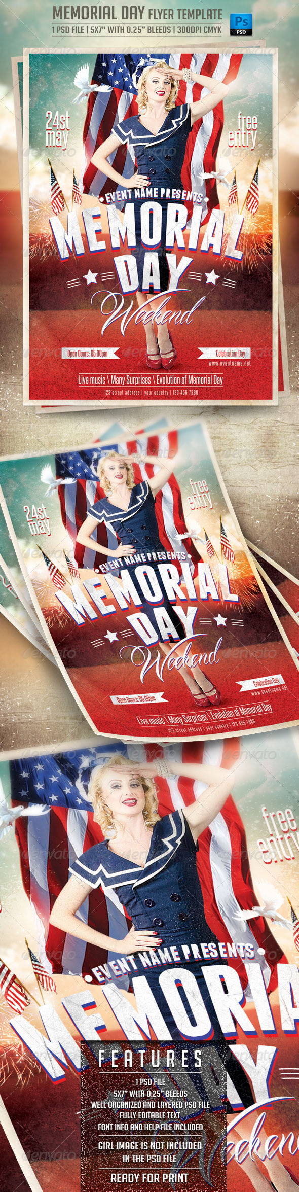 GraphicRiver Memorial Day Flyer Template 7605271
