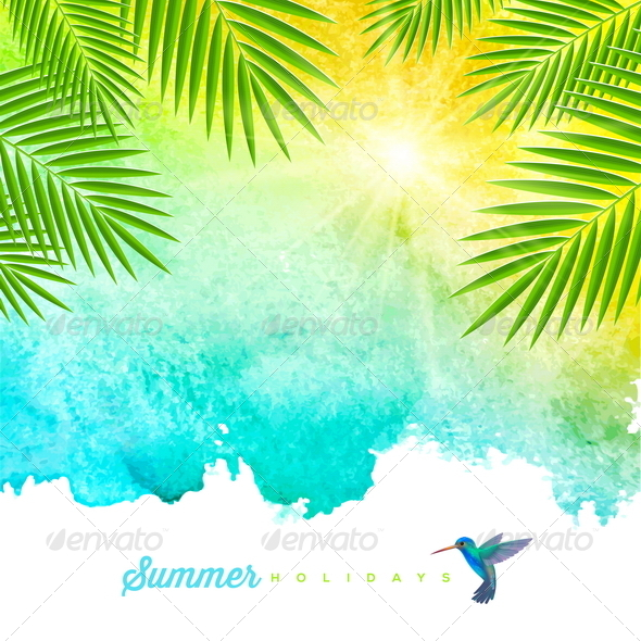 GraphicRiver Tropical Summer Holidays Watercolor Background 7605344